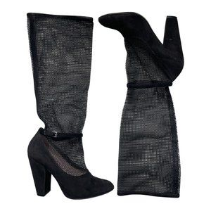 Marc Jacobs Black Mary Jane Mesh Heeled Boots
